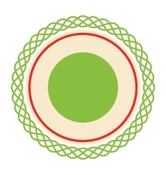 Circle lacy christmas label icon flat isolated on vector
