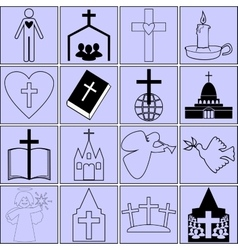 Icons on the topic of the bible and christianity vector