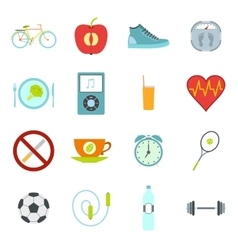 Healthy life style flat set vector