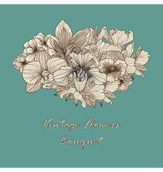 Vintage flowers composition vector