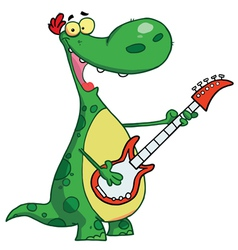 Dinosaur Plays A Guitar vector image