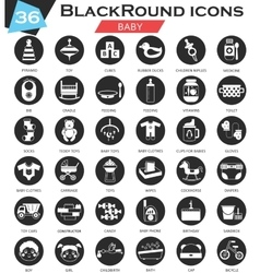 Baby circle white black icon set Ultra vector image