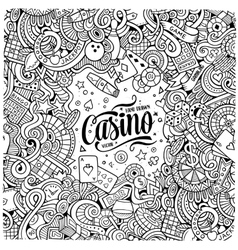 Cartoon doodles casino frame design vector