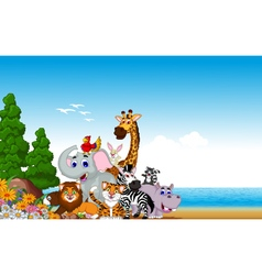 Animal cartoon collection with beach background vector