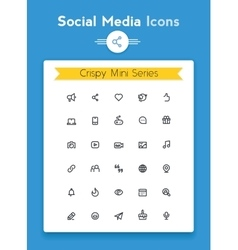 Line social media tiny icon set vector