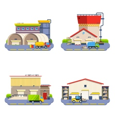 Warehouse flat icons set vector
