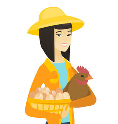 Asian farmer holding chicken and basket of eggs vector