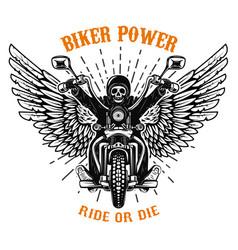 biker power ride or die human skull on winged vector image