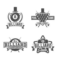 billiards emblems labels and designed elements vector image vector image