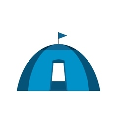 Blue dome tent flat icon vector