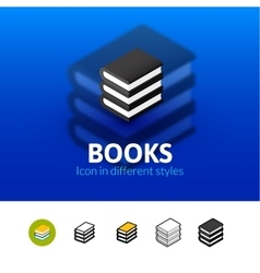 Books icon in different style vector image vector image