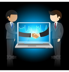 businessmen shaking hands and laptop vector image vector image