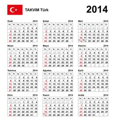 Calendar 2014 turkey type 21 vector
