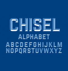 Chiseled alphabet letters set vector