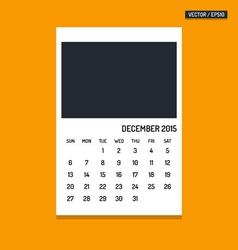 December 2015 calendar vector image vector image