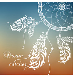Dream catcher sunset background vector