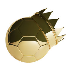Golden football or soccer ball with crown photo vector