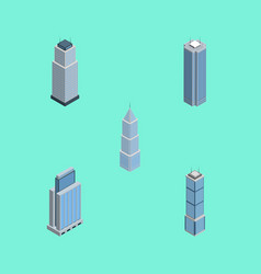 Isometric skyscraper set of exterior apartment vector
