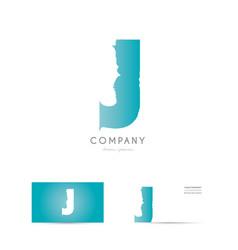 j blue letter alphabet logo icon design vector image