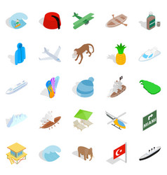 Long shot icons set isometric style vector