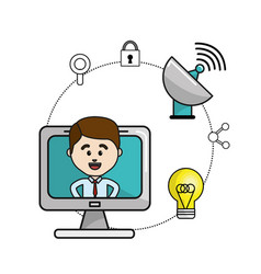 Man inside of computer and technology wifi icons vector