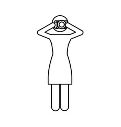 Monochrome contour pictogram of woman with photo vector
