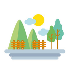 Mountains with grid wood and trees vector