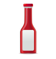 Realistic glass bottle for tomato sauces or vector