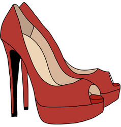 Red high heels shoes vector