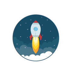 rocket ship in a flat style business start up vector image vector image