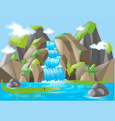 Scene with moutains and waterfall vector