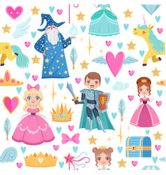 seamless pattern with different magic elements vector image vector image