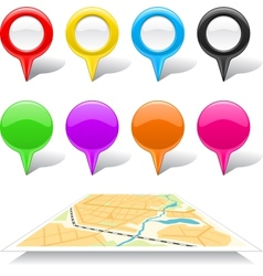 Set of map markers and abstract map vector image