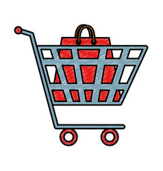 shopping cart with bag paper vector image