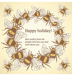 Sketch bumble bee in vintage style vector image vector image