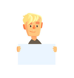 smiling teen boy character with piece of blank vector image vector image