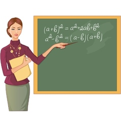 Teacher at blackboard vector image vector image