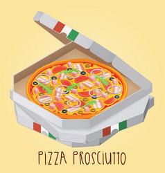The real pizza prosciutt italian pizza in box vector