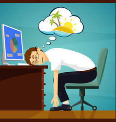 tired worker in the workplace dreaming about vector image