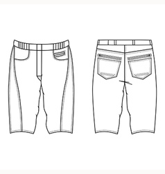 Unisex outlined template skinny shorts vector