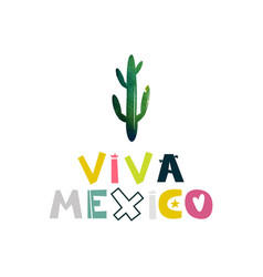 Viva mexico watercolor cactus cute cartoon vector