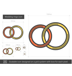 Wedding rings line icon vector