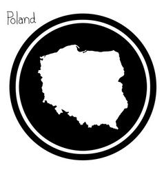 White map of poland on black circle vector