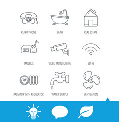 wifi video camera and mailbox icons vector image vector image