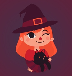 Witch girl holding a black cat vector