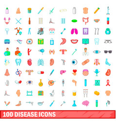 100 disease icons set cartoon style vector