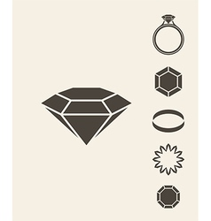 Jewelry and luxury Icon set vector image