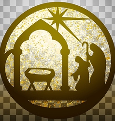 Adoration of the magi silhouette icon gold vector