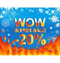 Big winter sale poster with wow super sale minus vector