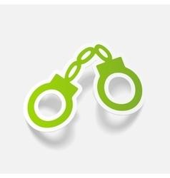 Realistic design element handcuffs vector